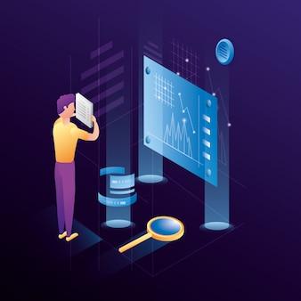 Zakenman met datacenter netwerkpictogrammen