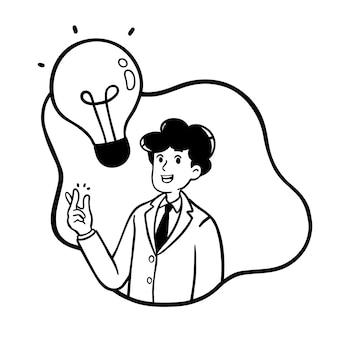 Zakenman met de getrokken stijl van de ideeillustratie hand