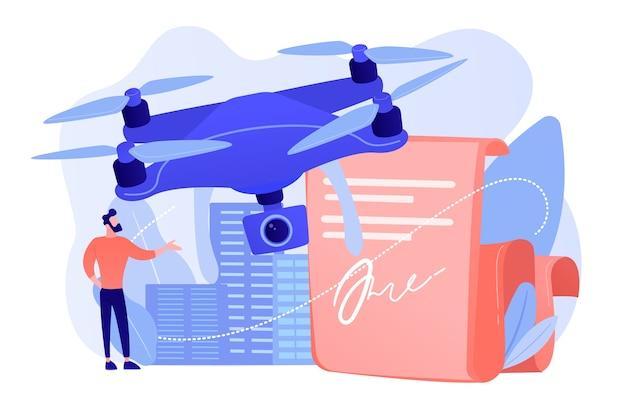Zakenman met drone lezing document met voorschriften. drone-vliegvoorschriften, gebruiksbeperkingen van drones, concept van regels voor onbemande vliegtuigen