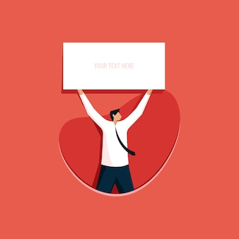 Zakenman met een leeg bord lege poster mockup-sjabloon
