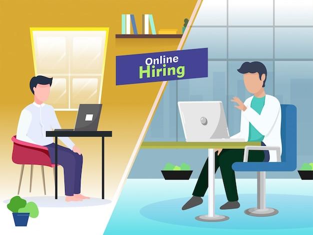 Zakenman met een sollicitatiegesprek met een sollicitant van laptop voor online inhuren op concept gebaseerde poster.