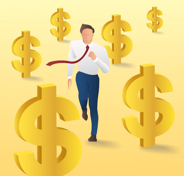 Zakenman met geld pictogram
