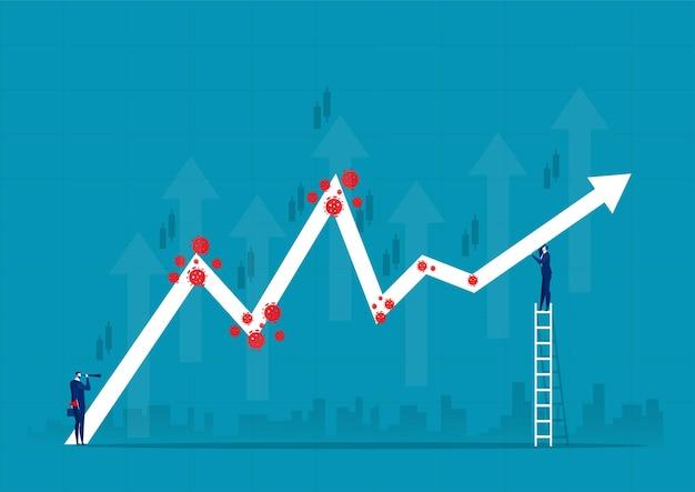 Zakenman met grafiek aandelenkoers omhoog