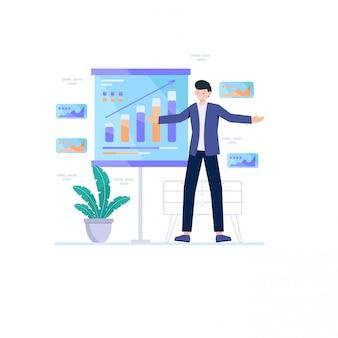 Zakenman met grafieken om marketing succes te bereiken