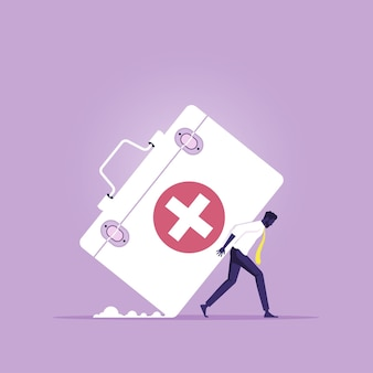 Zakenman met grote medische doos als dure dure medische verzekering