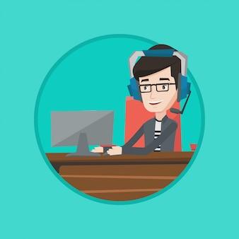 Zakenman met hoofdtelefoon die op kantoor werkt.