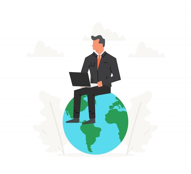 Zakenman met laptop zit op een grote planeet.