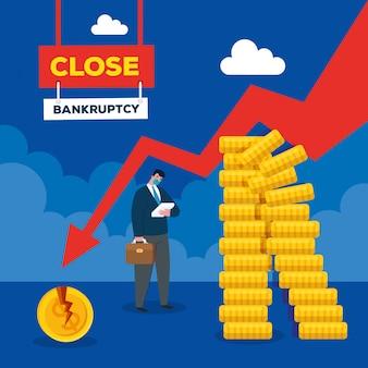 Zakenman met masker en afname pijl van faillissement