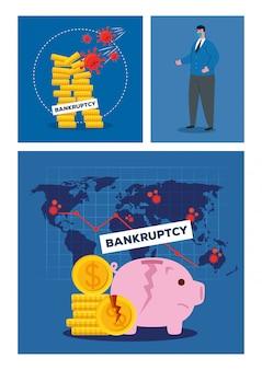 Zakenman met masker gebroken muntstukken en piggy van faillissement