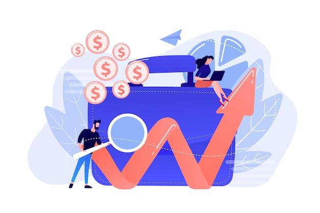 Zakenman met meer magnifier kijkt naar groeiende grafiek en koffer. financiële investeringen, marketing, zekerheid van deposito's concept op witte achtergrond.