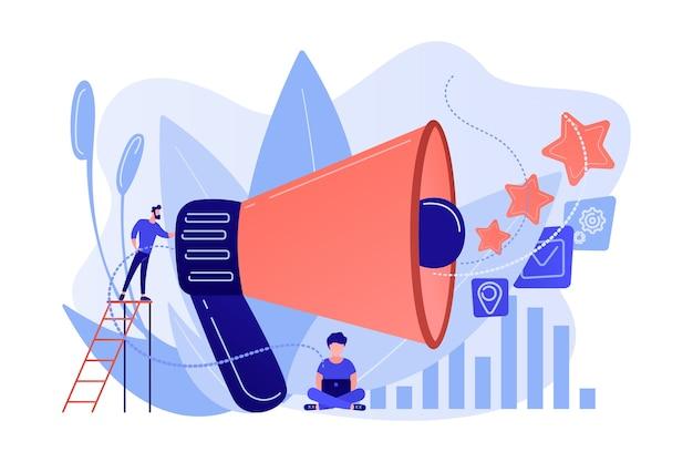 Zakenman met megafoon bevorderen media iconen. verkoopbevordering en marketing, afzetstrategie, promotionele producten concept op witte achtergrond.