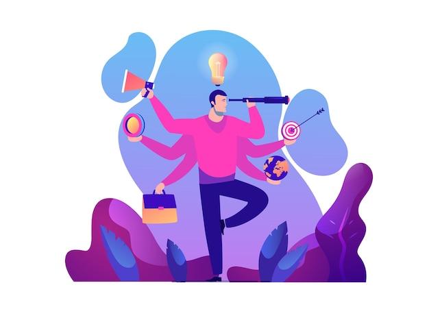 Zakenman met multitasking en multivaardigheid