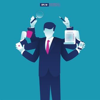 Zakenman met multitasking en multivaardigheid.