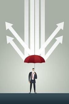 Zakenman met paraplu rode pijlen regen in economische crisis beschermen?