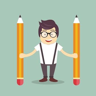 Zakenman met potloden