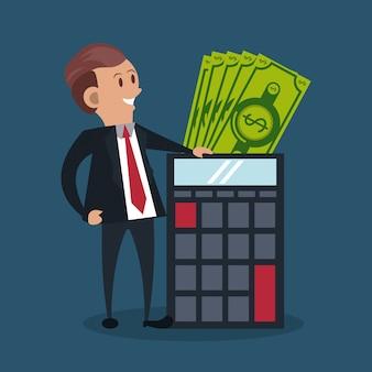 Zakenman met rekenmachine en contant geld