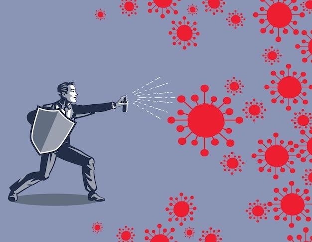 Zakenman met schild en spray vechten tegen coronavirus draad illustratie concept