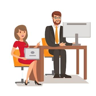 Zakenman met secretaris kleur illustratie