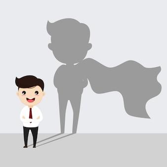 Zakenman met silhouet van superheld