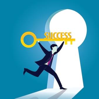 Zakenman met sleutel van succes