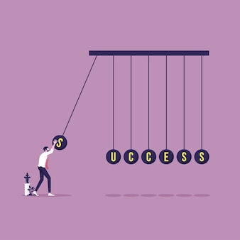 Zakenman met succeswoord over het in evenwicht brengen van ballen newtons wieg succes en bedrijfsconcept