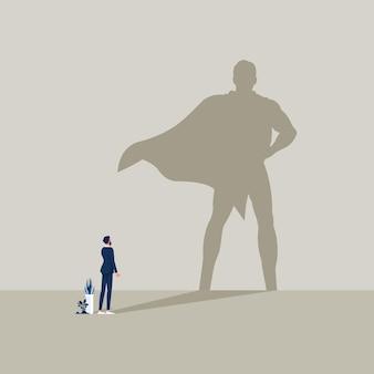 Zakenman met superheld schaduw ambitie en zakelijk succes vector concept