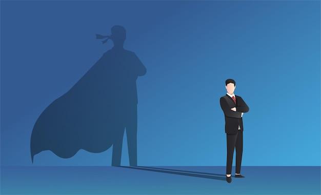 Zakenman met superheld schaduw vectorillustratie.