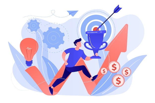 Zakenman met trofee rennen en stijgende pijl. zakelijke missie, missie, zakelijke doelen en filosofieën concept op witte achtergrond.