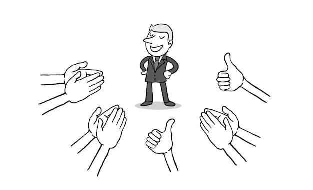 Zakenman met veel handen klappen en dreunen op
