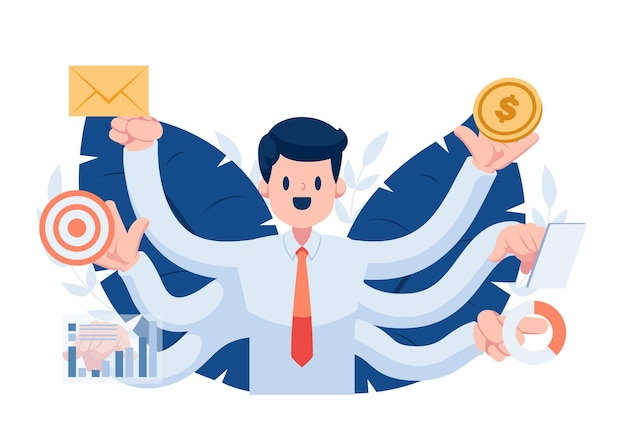 Zakenman met vele handen die veel werk tegelijkertijd doen. multitasken op het werk en efficiënt probleembeheerconcept
