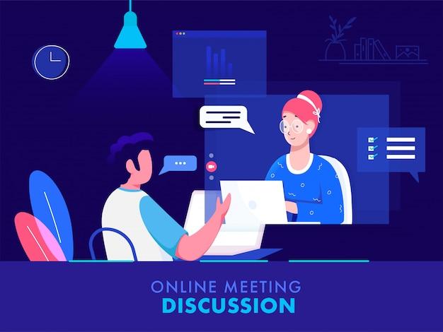 Zakenman met videogesprek met vrouw van laptop op blauwe achtergrond voor online vergadering discussieconcept.