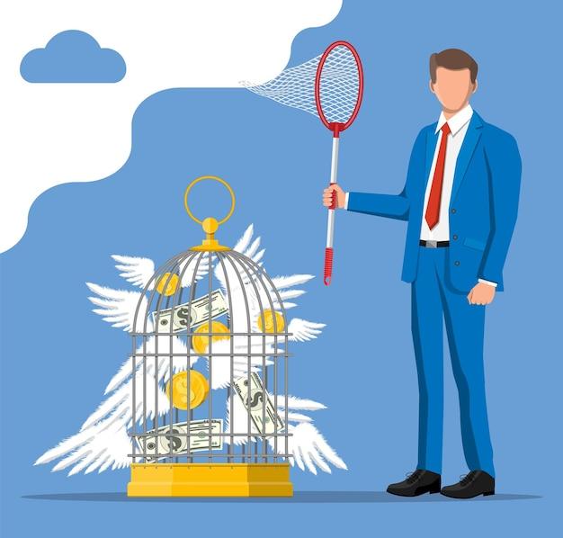 Zakenman met vlindernet en kooi die geld achtervolgen. dollarbankbiljetten en gouden munten met vleugels in vogelkooi. concept van succes carrièregroei. prestatie en doel. platte vectorillustratie