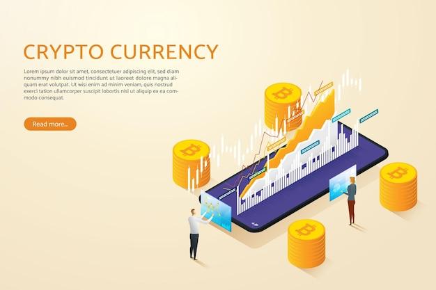Zakenman met vrouw kopen en verkopen bitcoin via mobiele telefoon met online cryptocurrency investeringen