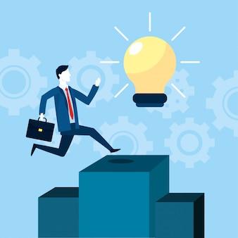 Zakenman met werkmap en doel met lamp idee