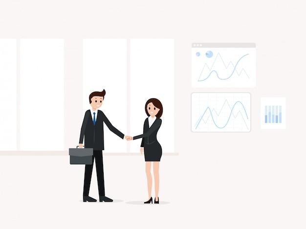 Zakenman met zakenvrouw na onderhandelingen