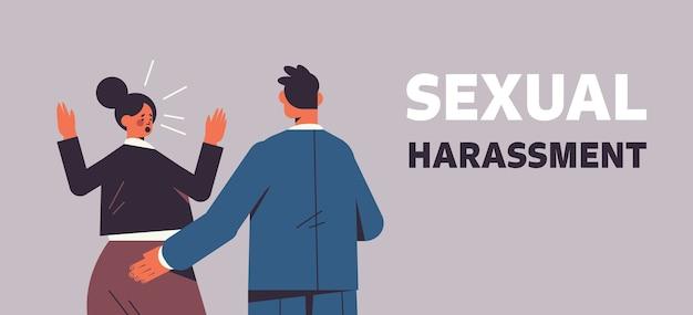 Zakenman molesteren vrouwelijke werknemer seksuele intimidatie op het werk concept wellustige baas aanraken van de kont van de vrouw horizontale portret vectorillustratie