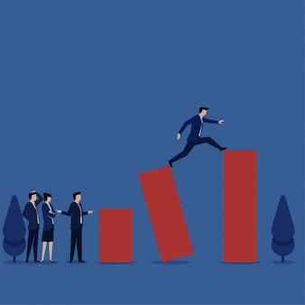 Zakenman neemt een sprong naar het volgende doel metafoor van risico en strategie.