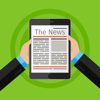 Zakenman nieuws lezen op digitale tablet.