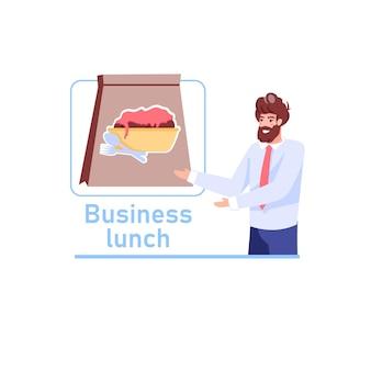 Zakenman nodigt uit om zakelijke lunch-eten bezorgservice te bestellen