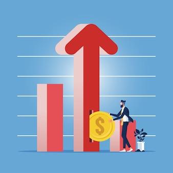 Zakenman of investeerder dollar munt aanbrengend sleuf in pijl