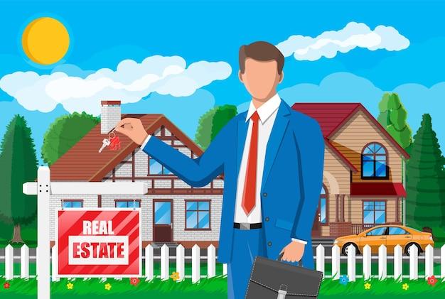 Zakenman of makelaar in de buurt van huis met sleutel in de voorsteden. houten plakkaat met onroerend goed teken. hypotheek, onroerend goed en investeringen. vastgoed kopen, verkopen of verhuren. platte vectorillustratie