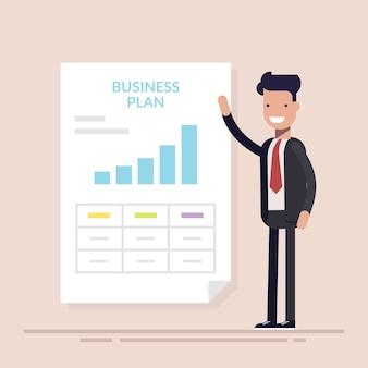 Zakenman of manager die presentatie van businessplan maken.