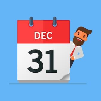 Zakenman of manager houdt een kalender op zijn hand