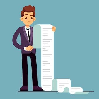 Zakenman of mannelijke advocaat die lange document lijst leest.
