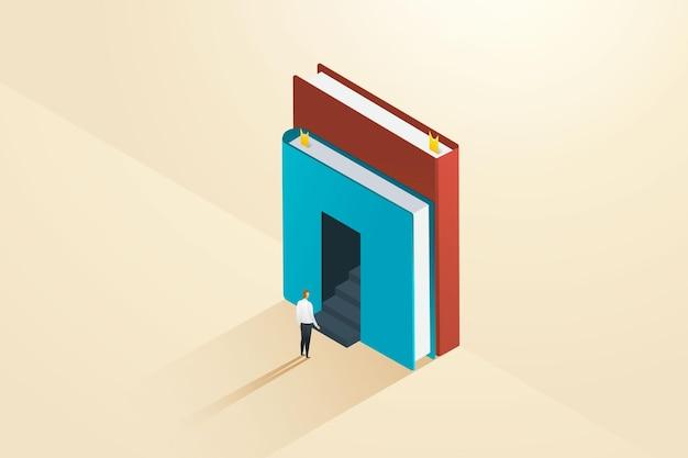 Zakenman of student staat voor de ingang met een trap die leidt naar de deur van het boek