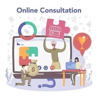 Zakenman online service of platform financiële prestatie