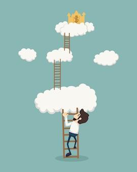 Zakenman op een ladder boven de wolken die gouden kasteel kijken