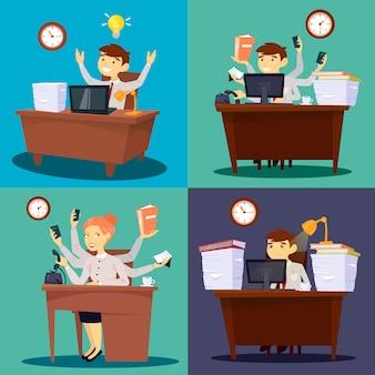 Zakenman op het werk. zakenvrouw in office. multitasking werknemer. kantoor leven. vector illustratie