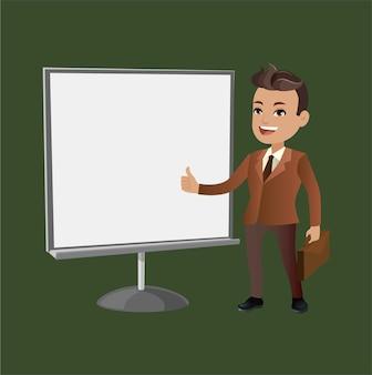 Zakenman op presentatie karakter vector design