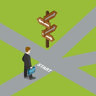 Zakenman op start voor kruispunt